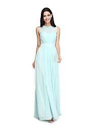 2017 Lanting bride® длиной до пола шифон элегантный платье невесты - это линия драгоценный камень с створкой