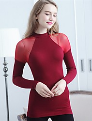 Women's Casual/Daily Sexy Long Pullover,Striped Red Beige Black Turtleneck Long Sleeve Cotton Fall Winter Medium Stretchy