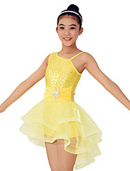 Dresses Performance Spandex /Crystals/Rhinestones / Paillettes / Ruffles / Sequins 2 Pieces Ballet Sleeveless