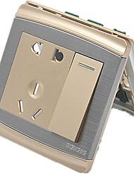 panneau d'interrupteur mural de l'interrupteur a ouvert un seul trou de cinq trous or champagne 86 Type dissimulé