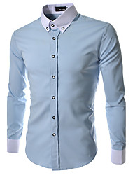 Men's Casual/Daily / Formal / Work Simple All Seasons Shirt,Solid / Color Block Shirt Collar Long SleeveBlue / Red / White / Black /