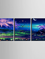 E-HOME® The Beauty of The Lake Clock in Canvas 3pcs