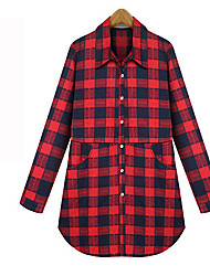 Women's Going out / Casual/Daily Vintage All Seasons Shirt,Color Block Shirt Collar Long Sleeve Blue / Red Cotton Medium