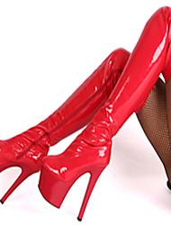 Черный Красный Белый-Женский-Для вечеринки / ужина-Полиуретан-На шпильке На платформе-На платформе-Ботинки
