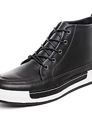 Men's Boots Casual Leather Boots Comfort Synthetic Casual Flat Heel Lace-up Black / Grey
