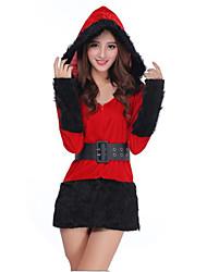 Costume de Soirée Costumes de père noël Fête / Célébration Déguisement Halloween Rouge & blanc / Rouge/noir Mosaïque Robe / CeintureNoël
