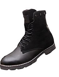 Men's Boots Fall Winter Comfort PU Casual Flat Heel Chain Black Brown Other