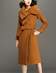 Chocolatone Women's Casual/Daily Simple CoatSolid Asymmetrical Long Sleeve Winter Orange Wool Thick