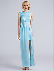 LAN TING BRIDE Ankle-length Jewel Bridesmaid Dress - Furcal Sleeveless Satin Chiffon