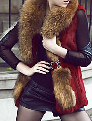 Women's Casual/Daily Simple Fur Coat,Solid Long Sleeve Winter Red / White / Black / Green Faux Fur