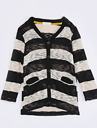 Girl Casual/Daily Striped Sweater & Cardigan,Cotton Fall Long Sleeve Regular