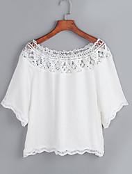 Women Summer Lace Slash Neck Casual Crop Tops  Short Sleeve T Shirts