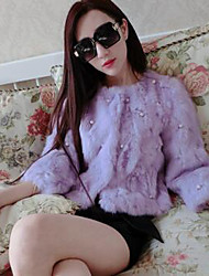 Women's Casual/Daily Simple Fur Coat,Solid Long Sleeve Pink / White / Black / Gray / Purple Rabbit Fur