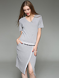Women's Asymmetrical Plus Size / Casual/Daily Simple / Active Bodycon DressSolid V Neck Knee-length Short Sleeve Black / Gray