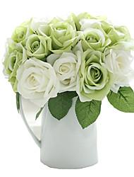 9pcs/Set 9 Une succursale Soie Roses Fleur de Table Fleurs artificielles 9.5 inch