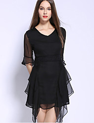 Women's Casual/Daily Sophisticated Little Black DressSolid Round Neck Asymmetrical  Length Sleeve Black Cotton Spring