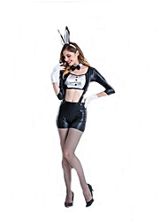 Cosplay Costumes Bunny Girls Movie Cosplay Black Solid Top / Pants / Cravat / Headwear Halloween / Carnival Female Polyester