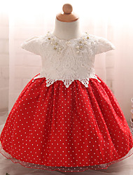 Robe Fille de Points Polka Soirée / Cocktail Polyester Eté Rose / Rouge