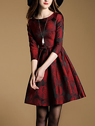 Women's Casual/Daily Sophisticated Skater DressEmbroidered Round Neck Mini  Sleeve Red Cotton Spring / Fall Mid Rise