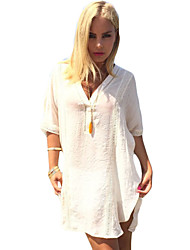 Women's Going out / Beach / Holiday Sexy / Simple / Boho Tunic DressSolid V Neck Mini  Length Sleeve White Polyester