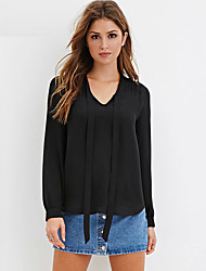 Tee-shirt Femme,Couleur Pleine Décontracté / Quotidien / Grandes Tailles Sexy / simple Printemps / Automne Manches Longues Col en VRouge
