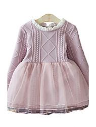 Robe Fille de Mosaïque Décontracté / Quotidien Coton Printemps / Automne Bleu / Rose