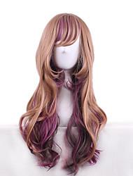 couleur brun pastel pourpre perruques naturelle vague de corps de mode anime lolita perruques belle cosplay