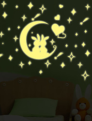 Luminous Moon Rabbit Heart Meteor Star Luminous Wall Stickers DIY Living Room Bedroom Wall Decals