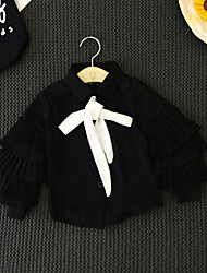 Girl's Going out Solid ShirtCotton Spring / Fall Black