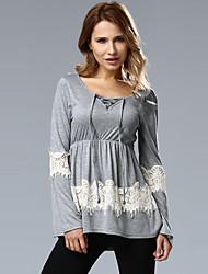 Damen Patchwork Sexy / Einfach Ausgehen / Lässig/Alltäglich T-shirt,V-Ausschnitt Frühling / Herbst Langarm Grau Polyester Mittel