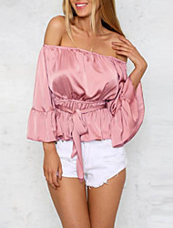 Women's Going out / Casual/Daily Sexy All Seasons Shirt,Solid Strapless ½ Length Sleeve Pink Cotton Medium