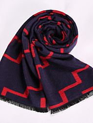 Men's Wool Blend Scarf Work/Casual/Calassic Scarf Winter Scarf Nature and Warm with Navy Blue Color