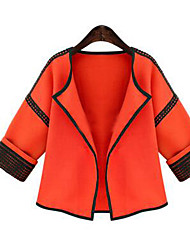 Veste Femme,Couleur Pleine Décontracté / Quotidien simple Manches ¾ Orange Coton Moyen Automne / Hiver