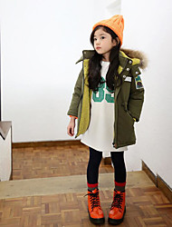 Girl's Casual/Daily Solid Down & Cotton PaddedCotton Winter Green