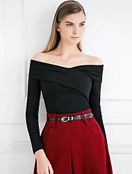 Dames Sexy / Eenvoudig Lente / Herfst T-shirt,Uitgaan Effen Boothals Lange mouw Rood / Zwart Katoen Ondoorzichtig