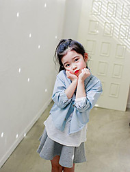 Girl's Casual/Daily Solid ShirtCotton Spring / Fall Blue / Pink