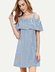 Women's Fine Stripe|Off The Shoulder Casual/Daily/Club Sexy/Simple Layered Sheath DressStriped Strap Above Knee Short Sleeve Blue Spring/Fall Mid Rise