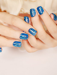 24PCS/SET Nail Strips Brief Paragraph Blue Sequins Fashion Sexy