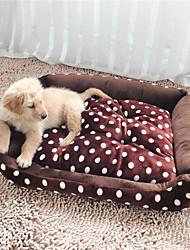 Cat / Dog Bed Dot Pattern Pet Mats & Pads Soft Plush / Fabric Brown