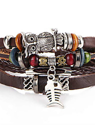 2016 New Fashion Vintage Bracelets Bangles Jewelry Fish Drop Leather Bracelet Beads Weave for Men Christmas Gifts