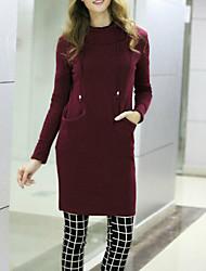 Long Hoodies Femme Décontracté / Quotidien / Grandes Tailles simple,Couleur Pleine Noir / Gris Capuche Manches Longues PolyesterToutes