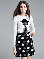 Women's Casual/Daily Street chic Skirt Suits,Jacquard Round Neck Long Sleeve White Polyester