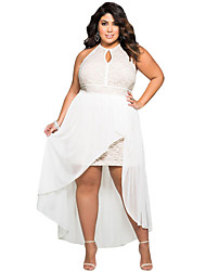 Women's Club Sexy Skater Dress,Solid Halter Asymmetrical Sleeveless White Polyester / Spandex Summer