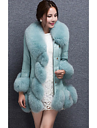 Women's Casual/Daily Simple Fur Coat,Solid Long Sleeve Winter Blue / Black / Purple Special Leather Types