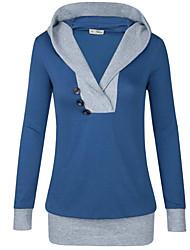 Damen Einfarbig Einfach / Aktiv Ausgehen / Sport T-shirt,Mit Kapuze Frühling / Herbst Langarm Blau / Rot / Schwarz / Grau Polyester Mittel