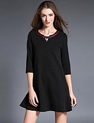 Trapèze Robe Femme Sortie / Grandes Tailles Vintage,Points Polka Col en V Au dessus du genou ½ Manches Noir Polyester AutomneTaille