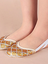 Non Customizable Women's Dance Shoes Cotton Cotton Ballet Flats Flat Heel Practice / Performance Silver / Gold