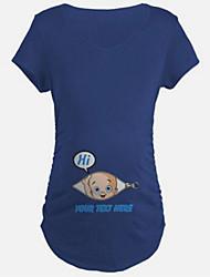 T-shirt Premaman Casual Romantico Estate,Tinta unita Rotonda Cotone / Elastene Blu / Nero / Arancione Manica corta Sottile