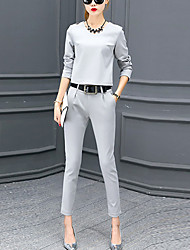 Women's Casual/Daily Vintage Fall Set Pant Suits,Solid Round Neck Long Sleeve Black / Gray Polyester Medium