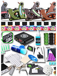 Complete Tattoo Kit 4 Cast Iron Tattoo Machine Liner & Shader 10 Tattoo Inks LCD power Supply Needles Tattoo Supplies